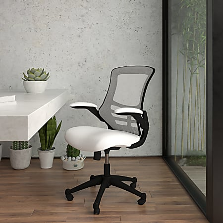 Flash Furniture Mesh Mid-Back Swivel Task Chair With Flip-Up Arms, White/Black