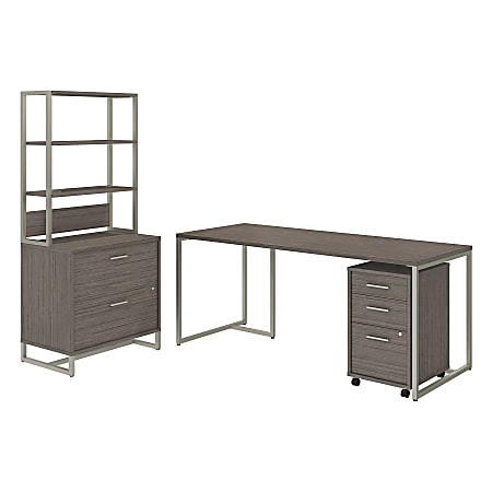 """kathy ireland® Office by Bush Business Furniture Method Table Desk with File Cabinets and Hutch, 72""""W, Cocoa, Standard Delivery"""