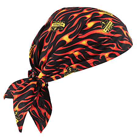 Ergodyne Chill-Its 6710CT Evaporative Cooling Triangle Hats With Cooling Towels, Flames, Pack Of 6 Hats