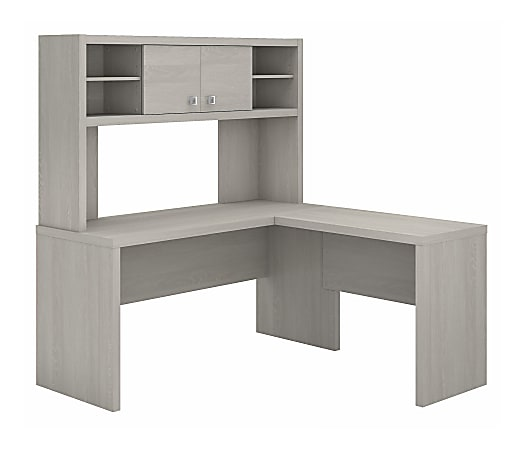 kathy ireland® Office by Bush Business Furniture Echo L Shaped Desk With Hutch, Gray Sand, Standard Delivery