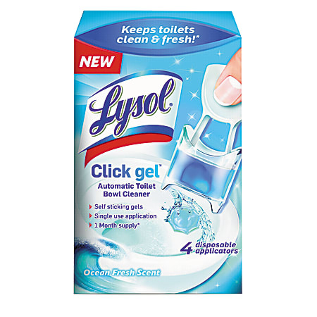 Lysol® Brand Click Gel™ Automatic Toilet Bowl Cleaner, 0.17 Oz, Ocean Fresh, Pack of 4