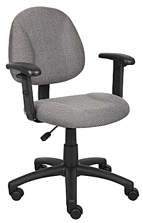 Boss Deluxe Posture Fabric Mid-Back Task Chair, Gray/Black