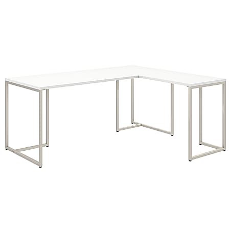 "kathy ireland® Office by Bush Business Furniture Method 72""W L Shaped Desk with 30""W Return, White, Standard Delivery"