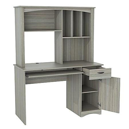 Inval Bandya Computer Desk/Workcenter With Hutch, Smoke Oak