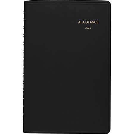 """AT-A-GLANCE® Daily Planner, 5"""" x 8"""", Black, January To December 2022, 7080005"""