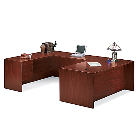 HON® 10500 Series™ Single-Pedestal Credenza, Pedestal On Left, Mahogany