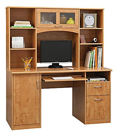 "Realspace® Landon 56""W Desk With Hutch, Oak"