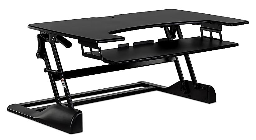 "Mount-It! MI-7961 XL Height-Adjustable Standing Desk Converter, 26""H x 48""W x 7""D, Black"