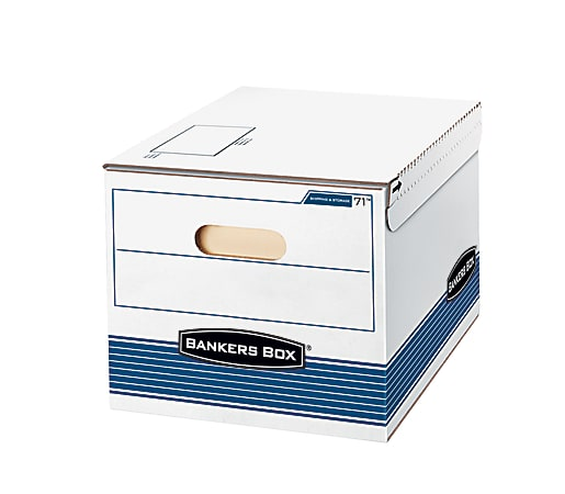 """Bankers Box® Stor/File™ S/S™ Storage Boxes, Letter/Legal Size, 15"""" x 12"""" x 10"""", 60% Recycled, White/Blue, Case Of 12"""