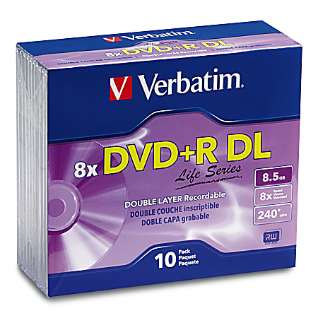 Verbatim® Life Series DVD+R DL Disc Slim Case, Pack Of 10
