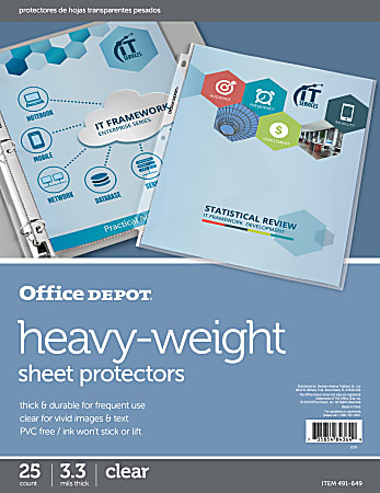 """Office Depot® Brand Heavyweight Sheet Protectors, 8-1/2"""" x 11"""", Clear, Pack Of 25"""