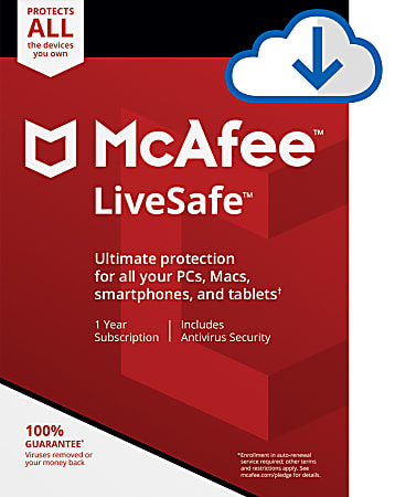 McAfee® LiveSafe™, For Unlimited Devices, 1 Year Subscription, PC/Mac®, Download