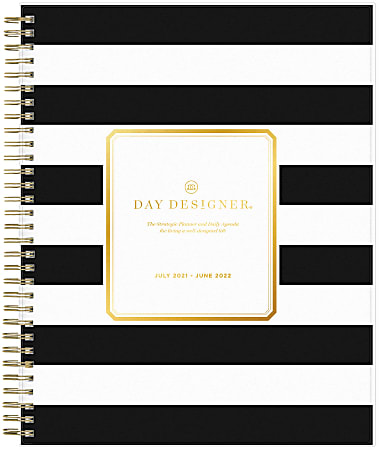 """Blue Sky™ Day Designer Daily/Monthly Planner, 8"""" x 10"""", Rugby Stripe Black, July 2021 To June 2022, 132268"""