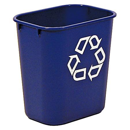 "Rubbermaid® Deskside ""We Recycle"" Container, 3 1/4 Gallons (12.3L), 12 1/8""H x 11 3/8""W x 8 1/4""D, Blue"