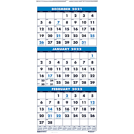 """House of Doolittle 3-month Vertical 17"""" Wall Calendar - Julian Dates - Monthly - 1.2 Year - December2020 till January 2022 - 3 Month Single Page Layout - 8"""" x 17"""" Sheet Size - 1"""" x 1.06"""" Block - Wire Bound - Blue, Green"""