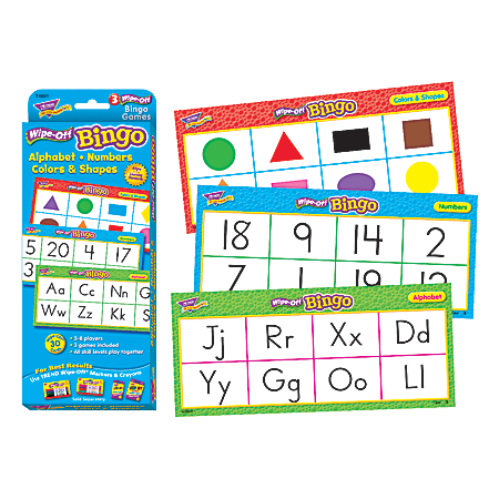 TREND Wipe-Off Bingo Set, Alphabet, Numbers, Colors And Shapes