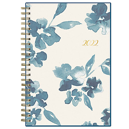 """Blue Sky™ Frosted Weekly/Monthly Safety Wirebound Planner, 5"""" x 8"""", Bakah Blue, January To December 2022, 137260-22"""