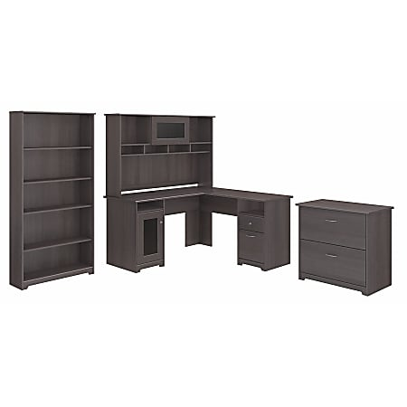 """Bush Furniture Cabot 60""""W L-Shaped Desk With Hutch, Lateral File And 5-Shelf Bookcase, Heather Gray, Standard Delivery"""