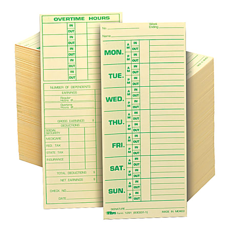 """TOPS® Time Cards (Replaces Original Card 331-10), Named Days, 2-Sided, 8 1/2"""" x 3 1/2"""", Box Of 500"""