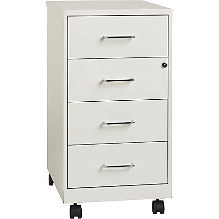 """Lorell® 26-1/2""""D Vertical 4-Drawer Mobile File Cabinet, Metal, White"""