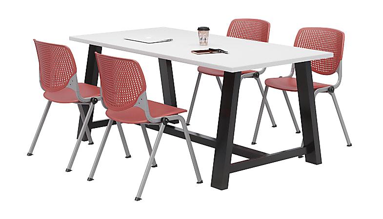 KFI Studios Midtown Table With 4 Stacking Chairs, Designer White/Coral Orange