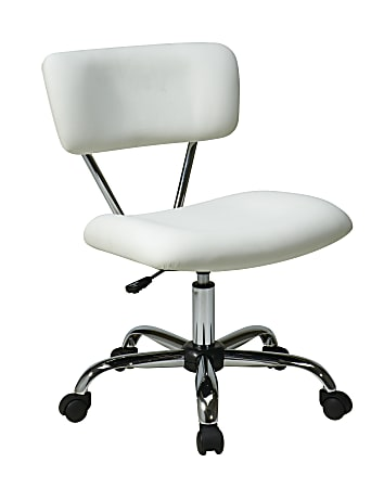 Office Star™ Avenue Six Vista Task Chair, Vinyl, White/Silver