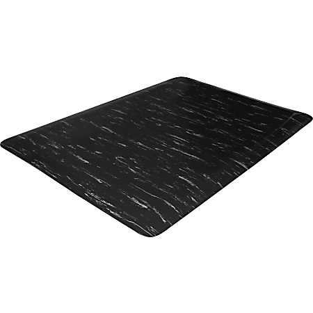 "Genuine Joe Marble Top Anti-fatigue Mats - Office, Airport, Bank, Copier, Teller Station, Service Counter, Assembly Line, Industry - 24"" Width x 36"" Depth x 0.50"" Thickness - High Density Foam (HDF) - Black Marble"