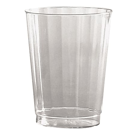 WNA Classic Crystal™ Plastic Fluted Tumblers, Tall, 10 Oz, Clear, 12 Tumblers Per Pack, Carton of 20 Packs