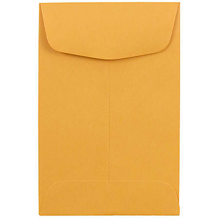 JAM Paper® Coin Envelopes, #4, Gummed Seal, Brown Kraft, Pack Of 500 Envelopes