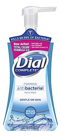 Dial® Complete® Antibacterial Foam Hand Soap, Springwater Scent, 7.5 Oz, Carton Of 8 Bottles