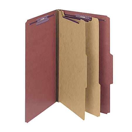 Smead® Pressboard Classification Folder, 2 Dividers, Legal Size, 60% Recycled, Red/Brown