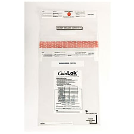 """CoinLOK Tamper Evident Coin Bags, 12"""" x 25"""", Clear, 50 lb Capacity, Box Of 250"""