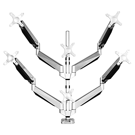 "Loctek D7 Gas-Spring Monitor Arm, Hexa, 30 1/8""H x 16 3/4""W x 5 15/16""D, Silver"