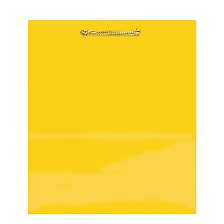 """Amscan Glossy Medium Gift Bags, 9-1/2""""H x 7-3/4""""W x 4-1/2""""D, Yellow Sunshine, Pack Of 10 Bags"""