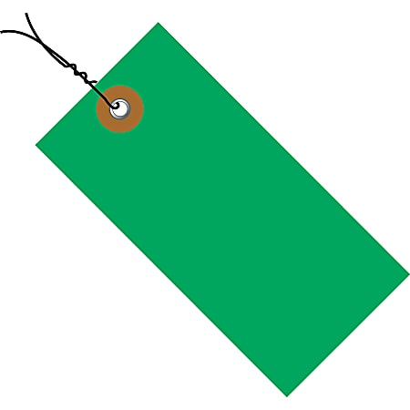 """Tyvek® Prewired Shipping Tags, #5, 4 3/4"""" x 2 3/8"""", Green, Box Of 100"""