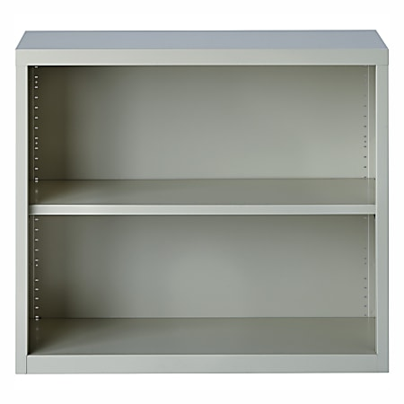 Lorell® Fortress Series Steel Bookcase, 2-Shelf, Light Gray