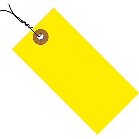 """Tyvek® Prewired Shipping Tags, #8, 6 1/4"""" x 3 1/8"""", Yellow, Box Of 100"""