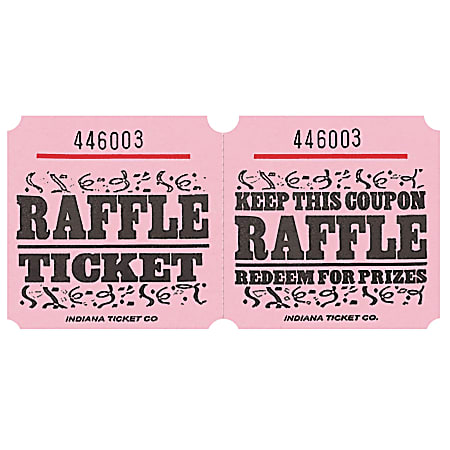 Amscan Raffle Ticket Roll, Pink, Roll Of 1,000 Tickets