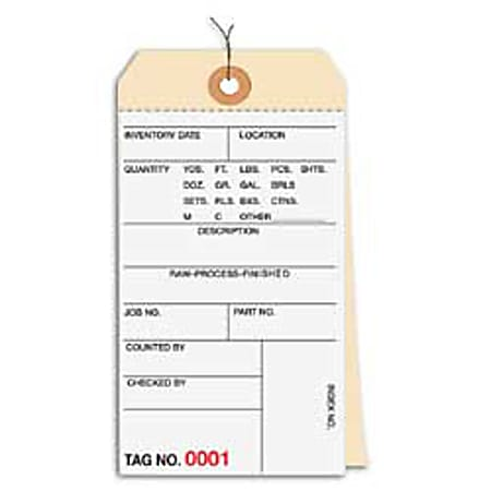 Prewired Manila Inventory Tags, 2-Part Carbonless, 4500-4999, Box Of 500