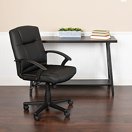 Flash Furniture Flash Fundamentals LeatherSoft Mid-Back Task Chair, Black