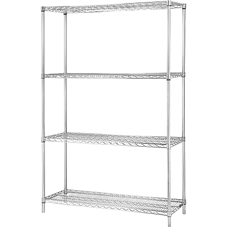"""Lorell® Industrial Wire Shelving Starter Unit, 36""""W x 18""""D, Chrome"""