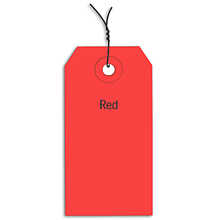 "Office Depot® Brand Prewired Color Shipping Tags, #4, 4 1/4"" x 2 1/8"", Red, Box Of 1,000"