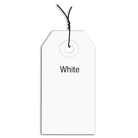 """Office Depot® Brand Prewired Color Shipping Tags, #5, 4 3/4"""" x 2 3/8"""", White, Box Of 1,000"""