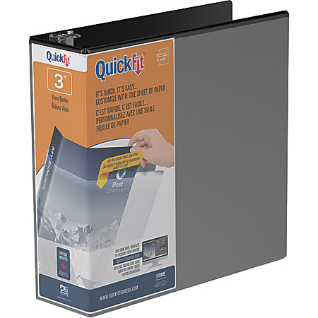 """QuickFit® View 3-Ring Binder, 3"""" Round Rings, 50% Recycled, Black"""