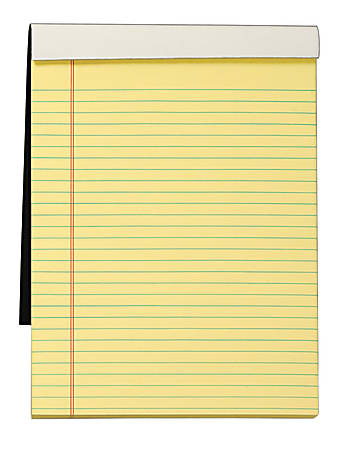"""TOPS™ Docket Gold™ Premium Writing Pad, 8 1/2"""" x 11 3/4"""", Legal Ruled, 70 Sheets, Canary"""