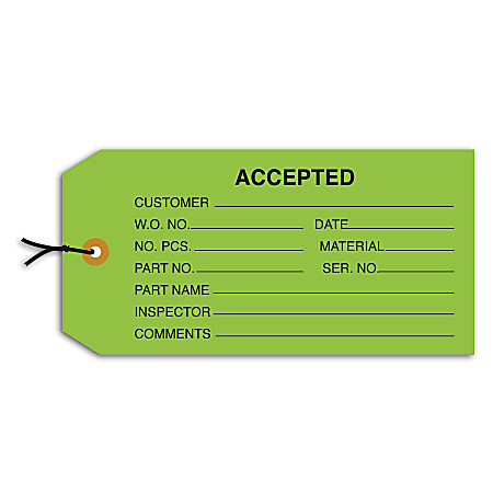 "Office Depot® Brand Prewired Inspection Tags, ""Accepted,"" 4 3/4"" x 2 3/8"", Green, Box Of 1,000"