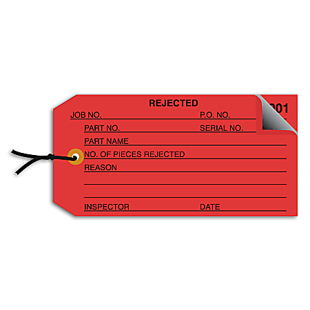 """Office Depot® Brand Prewired Inspection Tags, 2-Part Numbered, """"Rejected,"""" 4 3/4"""" 2 3/8"""", Red, Box Of 500"""