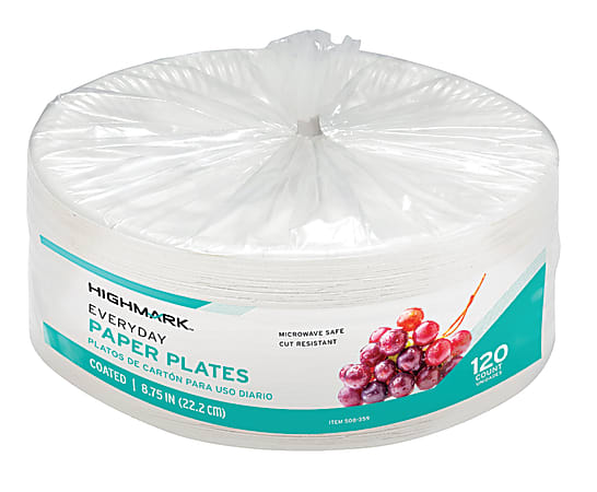 """Highmark® Paper Plates, 8-3/4"""", White, Pack Of 120"""