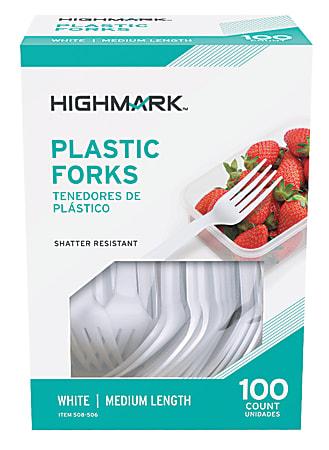 Highmark® Medium-Length Plastic Cutlery, Forks, Pack Of 100 Forks