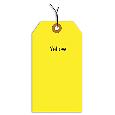 """Office Depot® Brand Fluorescent Prewired Shipping Tags, #5, 4 3/4"""" x 2 3/8"""", Yellow, Box Of 1,000"""